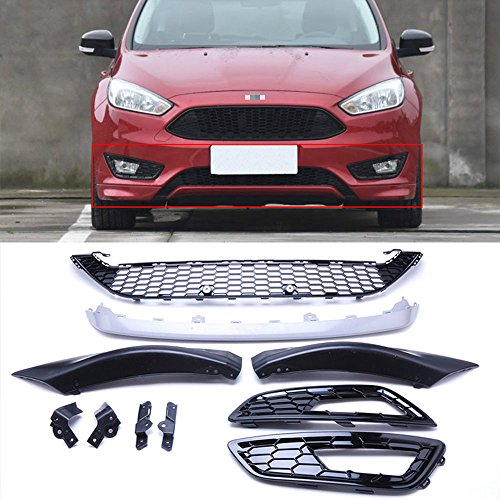 MotorFansClub Front Grill Bumper Grille for Ford Focus 2015 2016 ABS Gloss Black Honeycomb (with Fog Lamp Frame) ()