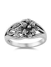 Oxidized Flower Hawaiian Plumeria Leaf Ring .925 Sterling Silver Band Sizes 3-13