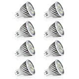 5w MR16 Led Bulbs, AC DC 12V, Warm White 2700K, 50w Equivalent, Non-dimmable, Perfect Standard Size, Recessed Lighting, MR16 LED, LED spotlight, 400lm, 120°(8 packs)