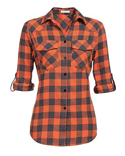 Genhoo Women's Roll Up Long Sleeve Tartan Plaid Collared Button Down Boyfriend Casual Flannel Shirt Top (Orange,S)