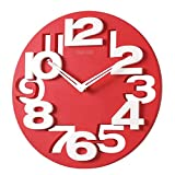 Foxnovo Novelty Hollow-out 3D Big Digits Kitchen Home Office Decor Round Shaped Wall Clock Art Clock (Red) For Sale