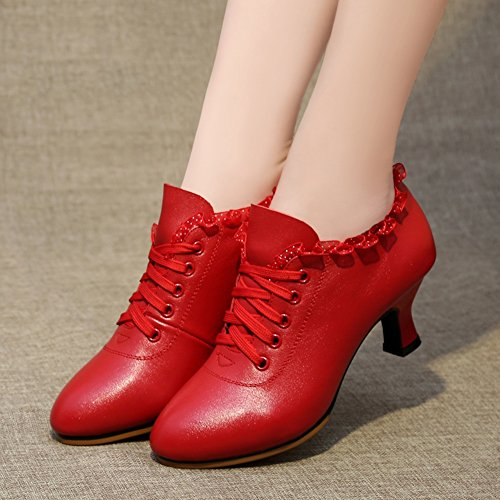 Women's Spring Ankle Boots Colors UK6 EU39 Red And Red Mid 245mm Summer Breathable Dance Heel Shoes Dance 2 L Size Adult Color PENGFEI Latin xYXIqOAwX