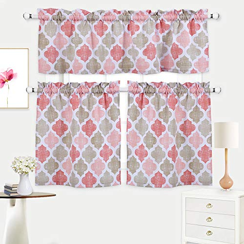 3 Pieces Tier Curtains and Valances Set, Cotton Blend Kitchen/Cafe Curtains Set, Moroccan Tile Design Curtains for Bathroom Window Covering, Coral/Tan (56
