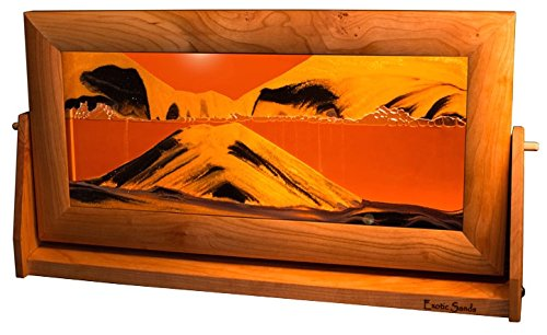 EXOTIC SANDS USA - Recommended by Niche Magazine - Sand Pictures SandScapes Desert Sand Art - X Large Cherry Wood Frame (Sunset Orange) Beautiful Sands of Time.