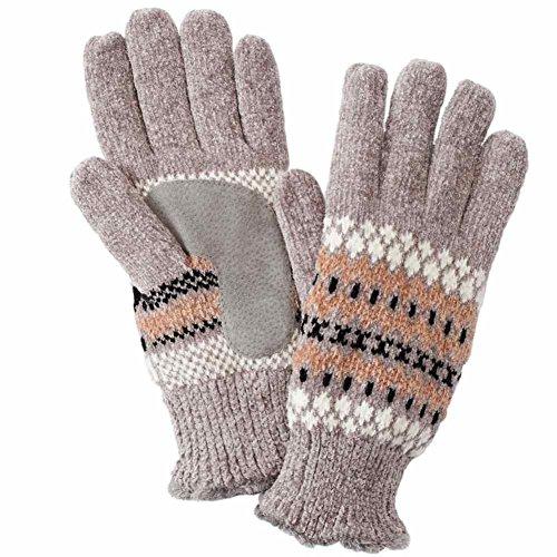 奨学金食料品店スティーブンソンIsotonerレディースグレーFairisle Chenilleスノーフレークニット手袋Microluxe