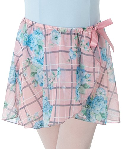 Body Wrappers Printed Tapered Mock Wrap Skirt, Pink Lattice Rose, Medium/Large