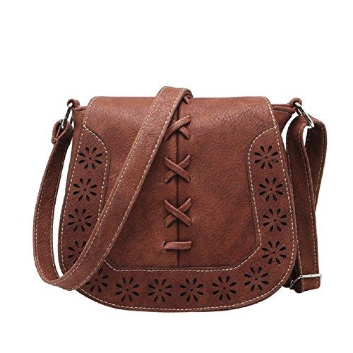 Fringe Flap (MiCoolker Vintage Bohemian Hippie Lace Up Hollow Flap Fringe Tassel Crossbody Shoulder Bag Pouch Purse Handbag Messenger Bag (Friar Brown))