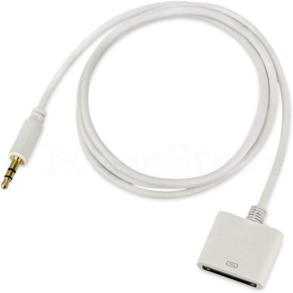 Audio Cable [Click2u] -AUX 3.5mm Male to 30 pin Female Audio Adapter Converter Cable [White].