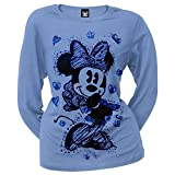 Minnie Mouse - Sketch Juniors Long Sleeve T-Shirt Large Blue