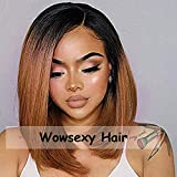 Wowsexy Hair Ombre 1B/30 Short Bob Lace Front Human Hair Wigs for African American Women Brazilian Virgin Hair Two Tone Lace Wigs with Pre-plucked Hairline (12 inch Lace Front Wig, 1B30 Straight)