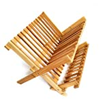 Natural Bamboo Dish Drying Rack Collapsible Compact Bamboo Dish Drainer (12 slots 13.5x12x9.5)
