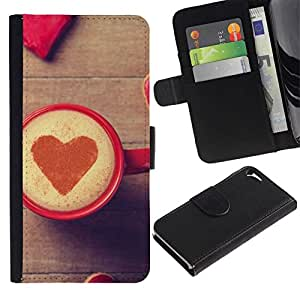 NEECELL GIFT forCITY // Billetera de cuero Caso Cubierta de protección Carcasa / Leather Wallet Case for Apple Iphone 5 / 5S // Corazón del amor del café