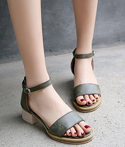 Easemax Womens Casual Mid Chunky Heels Open Toe Ankle Strap Sandals Green JdhVhxfdb