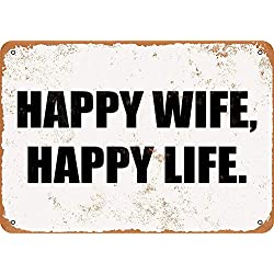 Fersha 8 x 12 Metal Sign - Happy Wife Happy Life - Vintage Look Tin Sign Retro Plaque Poster