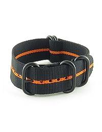 StrapsCo 20mm Premium Black Orange Stripe Nato Zulu G10 Ballystic Nylon Watch Strap w/ Black Rings