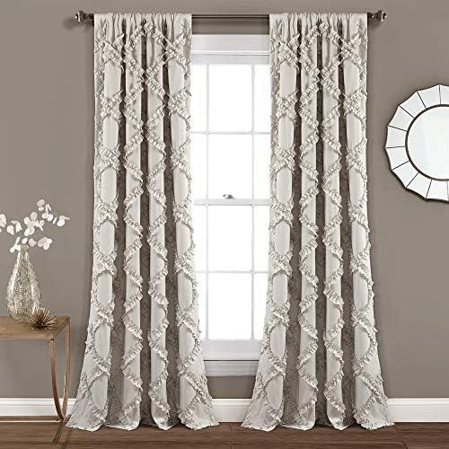 Lush Decor Ruffle Diamond Window Curtain Panel Pair