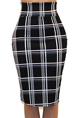 Pencil Check - Vivicastle Women's High Waist Band Bodycon Career Office Midi Pencil Skirt (Small, II6, Check)
