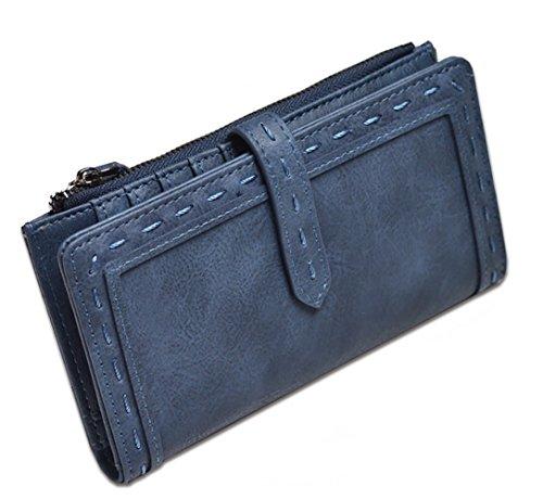 Women Leather Wallet Slim Zipper Clutch Purse Phone Cash Credit Card Holder Organizer (Dark blue) Dark Blue Zipper