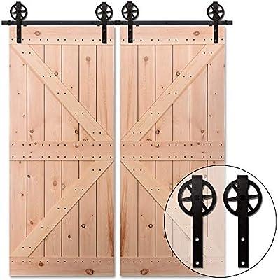 244CM/8FT Herraje para Puerta Corredera Kit de Accesorios, Guia Riel Puertas Correderas, Rueda grande Forma J: Amazon.es: Bricolaje y herramientas