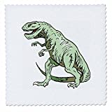 3dRose qs_41563_1 Green T Rex Dinosaur Quilt Square, 10 by 10-Inch