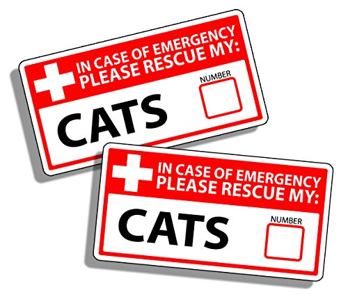 - 1st First Aid Emergency Warning Stickers - Cat Cats Kitten Safety Rescue Fireman Fire Pet Animals Help Save K9 Home Office