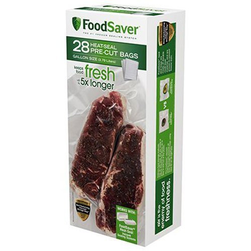 FoodSaver 1-Gallon Precut Vacuum Seal Bags with BPA-Free Multilayer Construction for Food Preservation, 28 Count (Renewed)