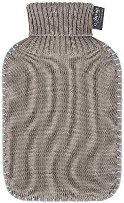 Fashy Wärmflasche mit Rollkragen-Strickbezug und Schlingennaht, Farbe: taupe