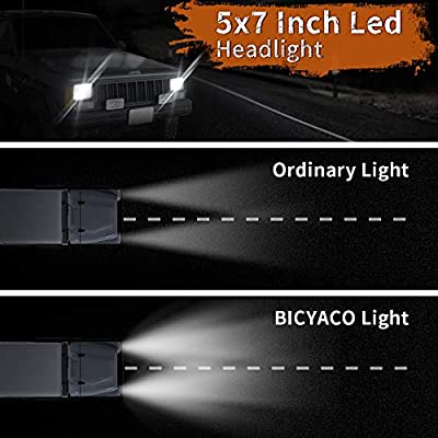 BICYACO DOT 110W 5x7 Inch Led Headlights 7x6 Inch Hi/Low Led Sealed Beam Headlamp for Jeep Wrangler YJ Cherokee XJ H4 Plug H6054 Headlights H5054 6054 6052 Toyota Pickup(Chrome): Automotive