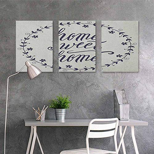 HOMEDD Graffiti Canvas Painting Sticker,Home Sweet Home Circular Frame with Little Flowers Leaves and Hand Written Text,Office Art Decoration 3 Panels,24x35inchx3pcs Pale Taupe Dark Blue