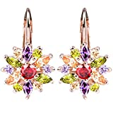 BAMOER 18K Rose Gold Plated Cubic Zirconia Snowflake Lever Back Earrings for Women Girls CZ Jewelry Stud Fashion Earrings 3 Style Rose Gold & Colorful CZ