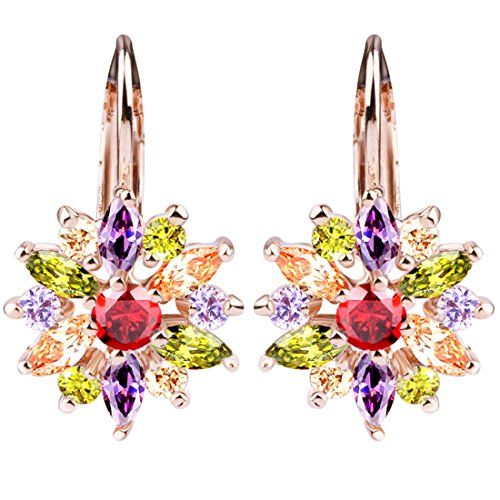 BAMOER 18K Rose Gold Plated Cubic Zirconia Snowflake Lever Back Earrings for Women Girls CZ Jewelry Stud Fashion Earrings 3 Style Rose Gold & Colorful ()
