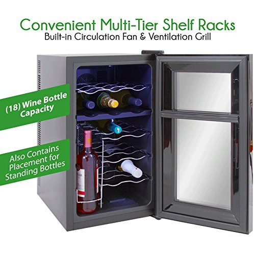 Electric Plug-in NutriChef Programmable Door Lock Stainless Steel Beverage Refrigerator Chiller Cellar w// Adjustable Temp Setting LCD Digital Display 18 Bottle Digital Wine Cooler LED Lights