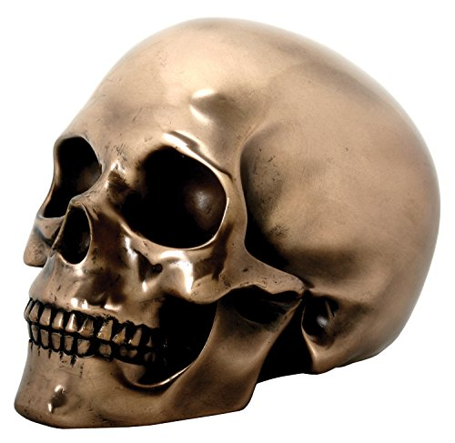 SUMMIT COLLECTION Decorative Bronze Colored Skull Head Skeleton Figurine Statue