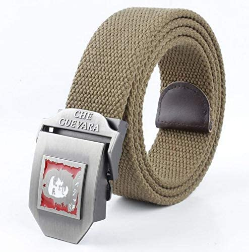 WDYDDW MenS Belt Men/&Women Canvas Belt Che Guevara Metal Buckle Fashion Waistband Military Belt Army Tactical Belts For Men Male Strap