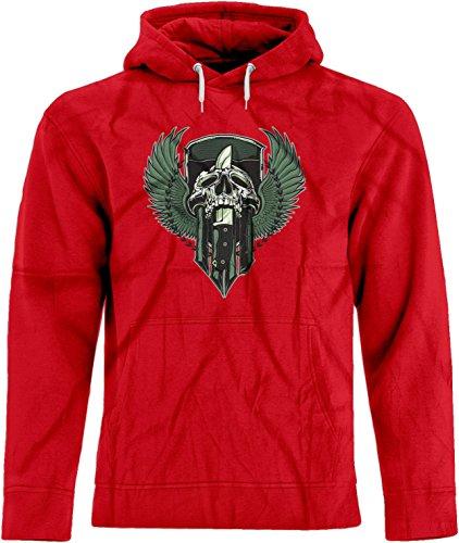 BSW Unisex Skull Knife Wings Crest Premium Hoodie XS Red