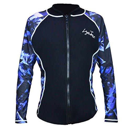Layatone Wetsuits Jacket 2mm Neoprene Long Sleeve Top (Blue-Lycra Sleeve, US - Best Tops Wetsuit