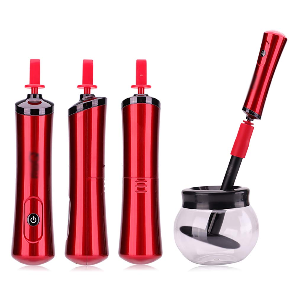 Makeup Brush Cleaner and Dryer Makeup Brush Cleaning Tool Holder Bowl Automatic Electronic Brushes Cleaner for Makeup Brushes red