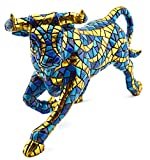 Decorative figure BULL in MOSAIC LIMITED EDITION of resin hand painted with the modernist technique TRENCADIS, in the Gaudí style. 3,54'' x 9,06'' x 6,10''