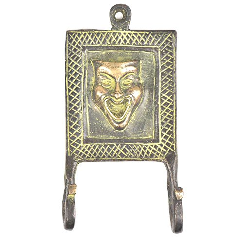 1 Piece Laughing Joker Face Tribal with Green Patina Brass Wall Hooks Cloth Coats Hangers Key Accessories Holders Online BTH-166 ()