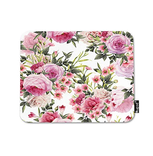 - Mugod Roses Mouse Pad Pretty Floral Peony Flowers Leaf Bouquet Elegance Pink Green Gaming Mouse Mat Non-Slip Rubber Base Mousepad for Computer Laptop PC Desk Office&Home Working 9.5x7.9 Inch
