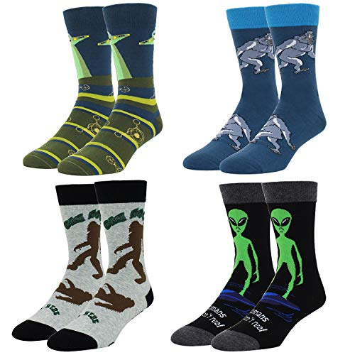 Zmart 4 Pack Men's Novelty Crazy Alien Sasquatch Pattern Cotton Funny Dress Socks 4 Pack with Gift Box for $<!--$26.99-->