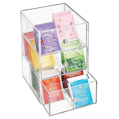 mDesign Organizador de cocina con 3 cajones de plastico – Mini cajonera para infusiones, bolsas de te, sobres de cafe, azucar, etc – Caja de te en plastico – transparente