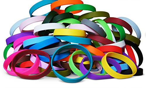 Novel Merk 60-Piece Kids Multi-Color Blank Wristband Bracelet Party Favor & School Carnival Prize -
