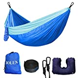 Camping Hammock Portable Lightweight Parachute Nylon Hammock with Tree Straps for Camping Travel Beach Yard (Sky Blue and Blue)