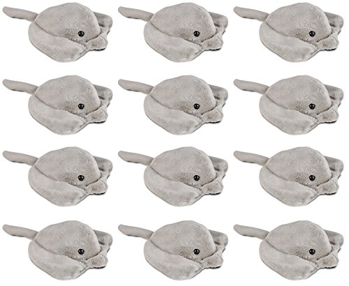 Wildlife Tree 3.5 Inch Sting Ray Mini Small Stuffed Animals Bulk Bundle of Ocean Animal Toys or Sea Party Favors for Kids Pack of 12 (Animals Stingray)
