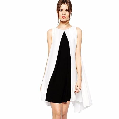 Nero Senza Maniche Bianco Della Rappezzatura Offerta Bordo Irregolare Vestito Allentato Casuale