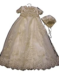 Aorme Baby-girls Ivory Christening Dresses Baptism Gowns with Beading Lace