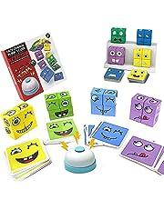 Houten uitdrukkingen speelgoed houten magische kubus gezicht patroon bouwstenen educatieve Montessori speelgoed bijpassende blok puzzels voor kinderen, komen met 16 stuks hout puzzels, een oproep bel bel en 64 kaarten