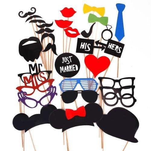 31PCS Colorful Props On A Stick Mustache Photo Booth Party Fun Wedding Christmas Birthday Favor -