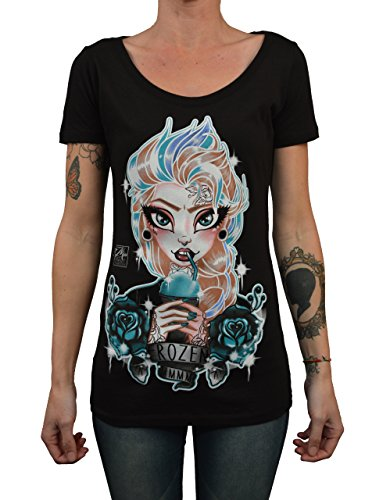 (Women's Frozen by Miss Cherry Martini Elsa Punk Edit Princess Tattoo Art)